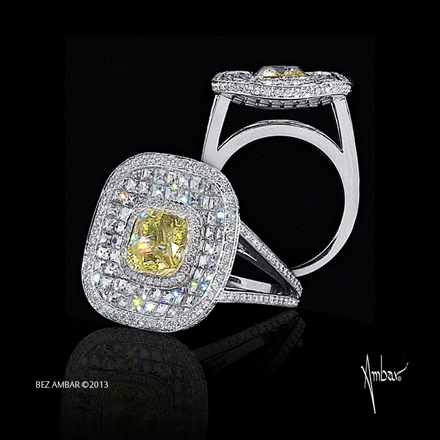 Fancy-Yellow- cushion-cut - diamond-Avalon
