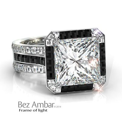 princess -diamond-engagement -ring -Black-white- Blaze