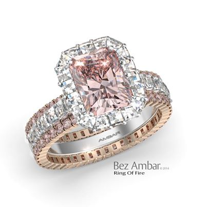 halo diamond engagement ring set radiant pink diamond - Pink Wedding Ring Set