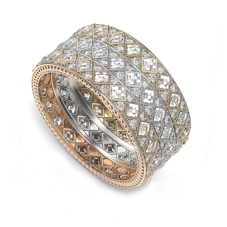 Checkerboard Diamond Eternity Ring