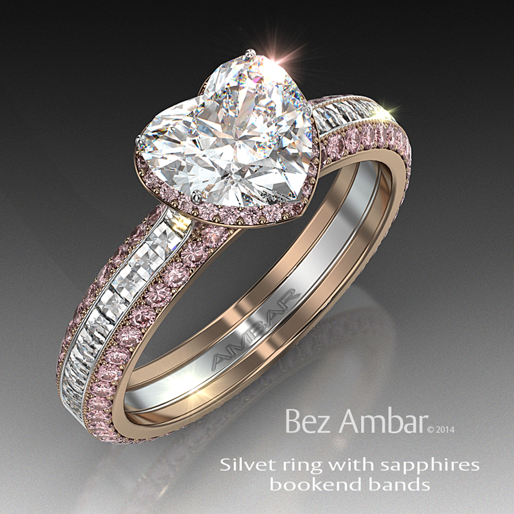 silvet blaze wedding ring set with black diamonds - Pink Wedding Ring Set