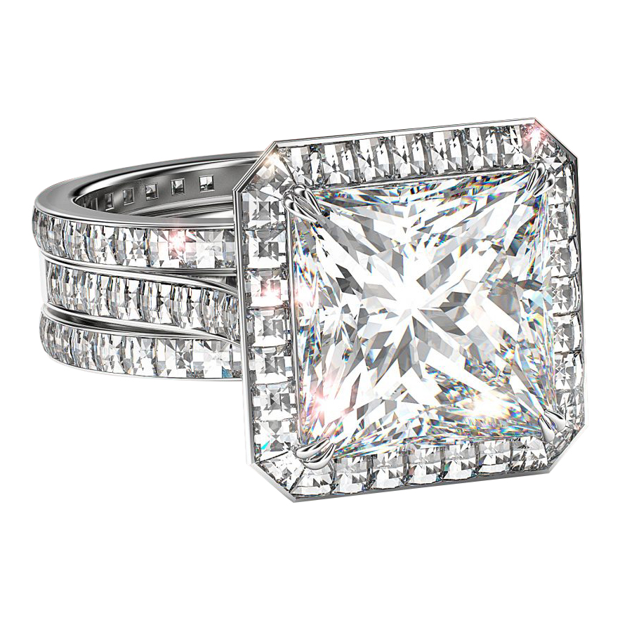 Frame of Light Princess with White Diamond Eternity Bands