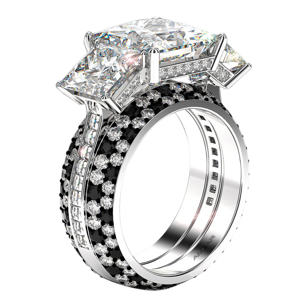 3 Stone Diamond Ring White Gold -Princess