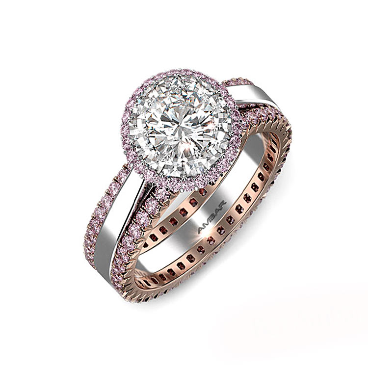 Diamond Wedding Ring Pink Sapphire Bands