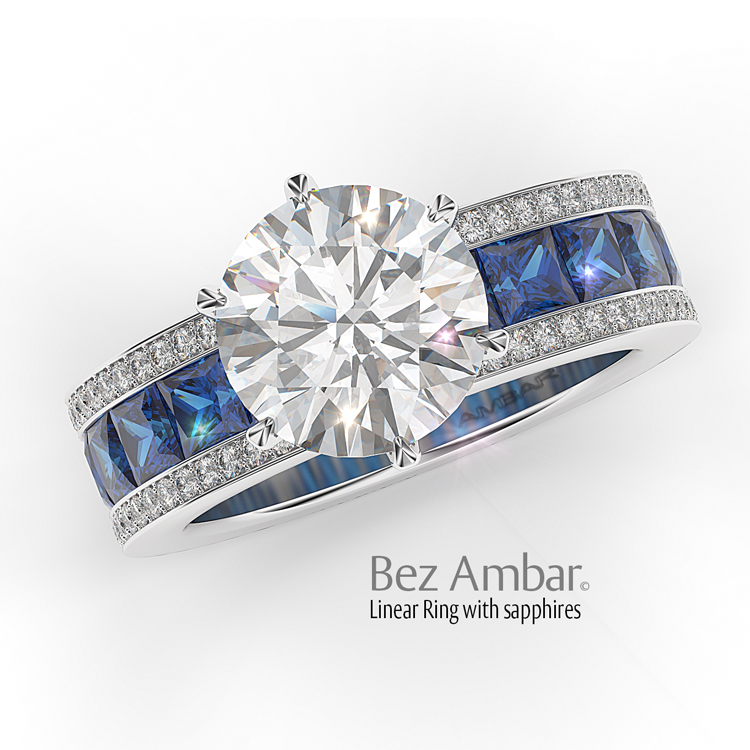 Engagement-ring-with-round center princess-sapphires-white pave