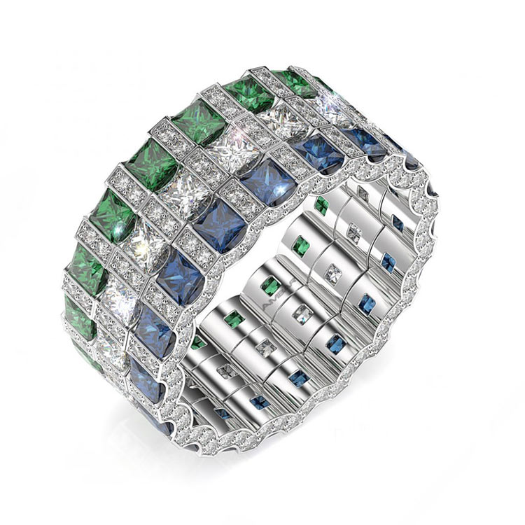princess, sapphire emerald wedding bands