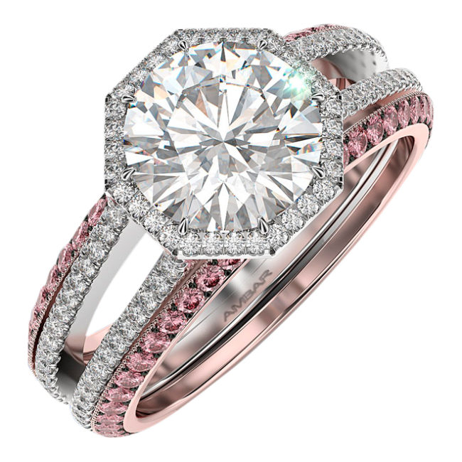 Diamond Engagement Ring Set- Octagon Frame