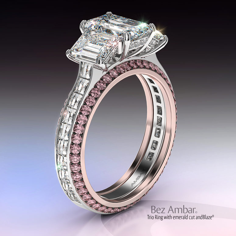 trio wedding ring set emeralds blaze diamonds pink - Wedding Ring Trio Sets