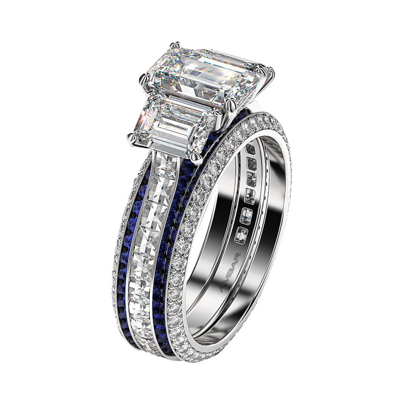 Three Stone Emerald Cut Diamond Engagement Rings