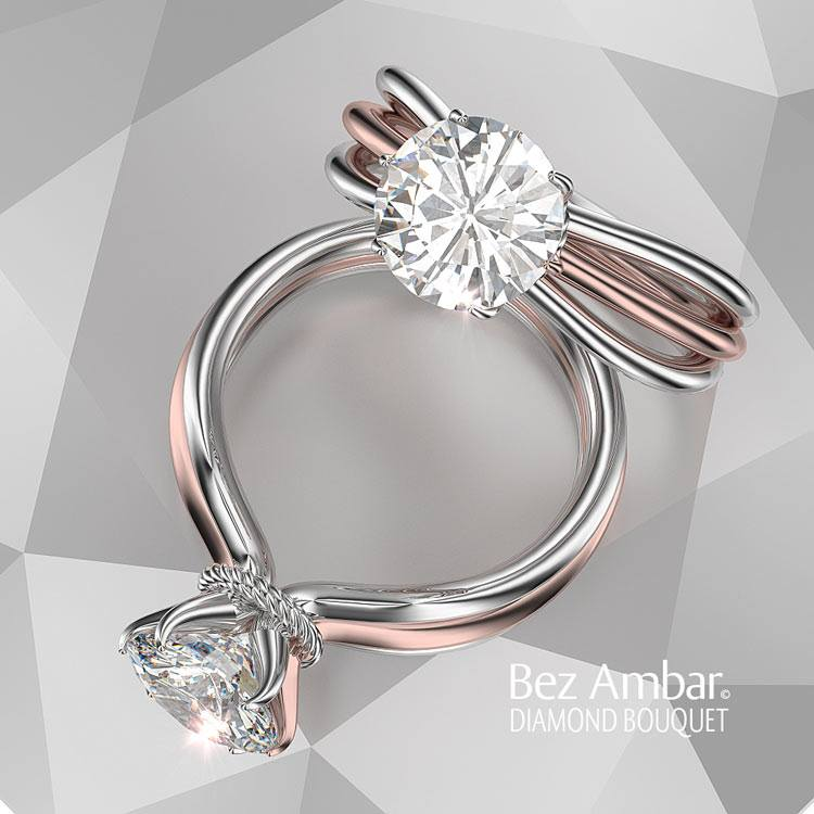 Split shank Solitaire Engagement Ring Bouquet Style Rose and White Gold Bez Ambar