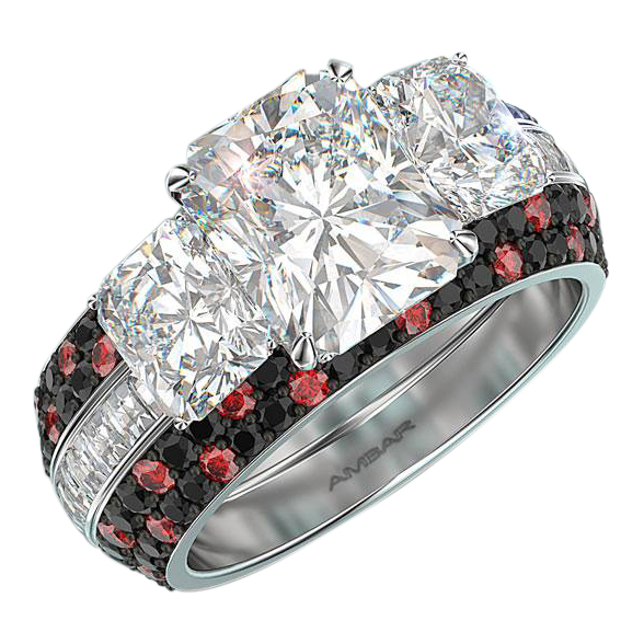 3 Stone Radiant Cut Diamond Ring with Blaze