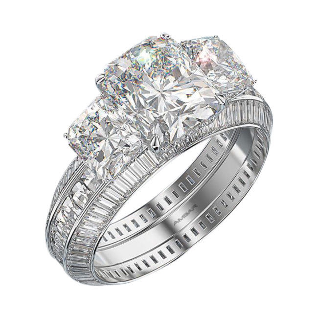 Three Diamond Ring Settings Radiant Center