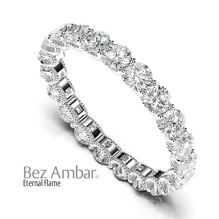 on bands pin mounted diamonds twin by pearl a and cable classic lustrous bordered contemporary