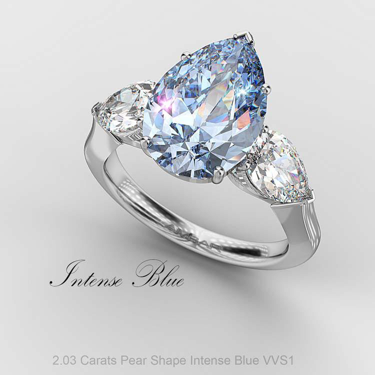 fancy blue diamond rings - Blue Diamond Wedding Ring