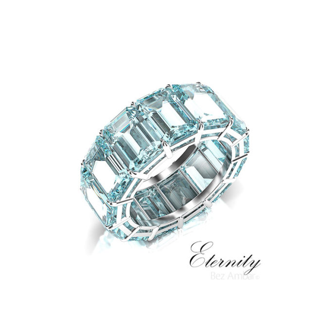 aquamarine gemstone eternity ring