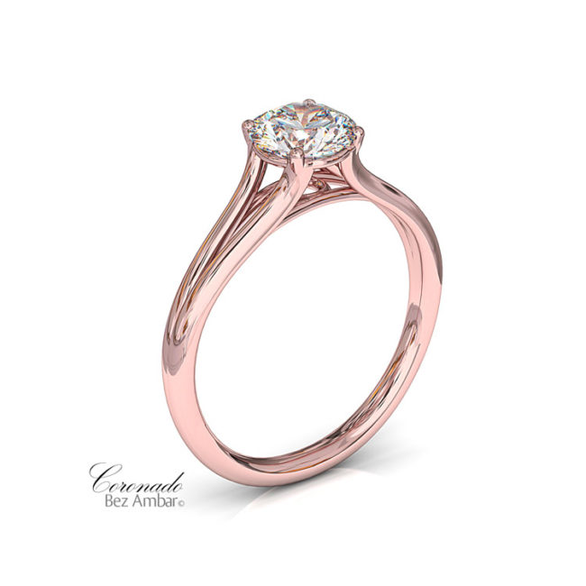 Rose Gold Coronado Split Shank Solitaire Engagement Ring