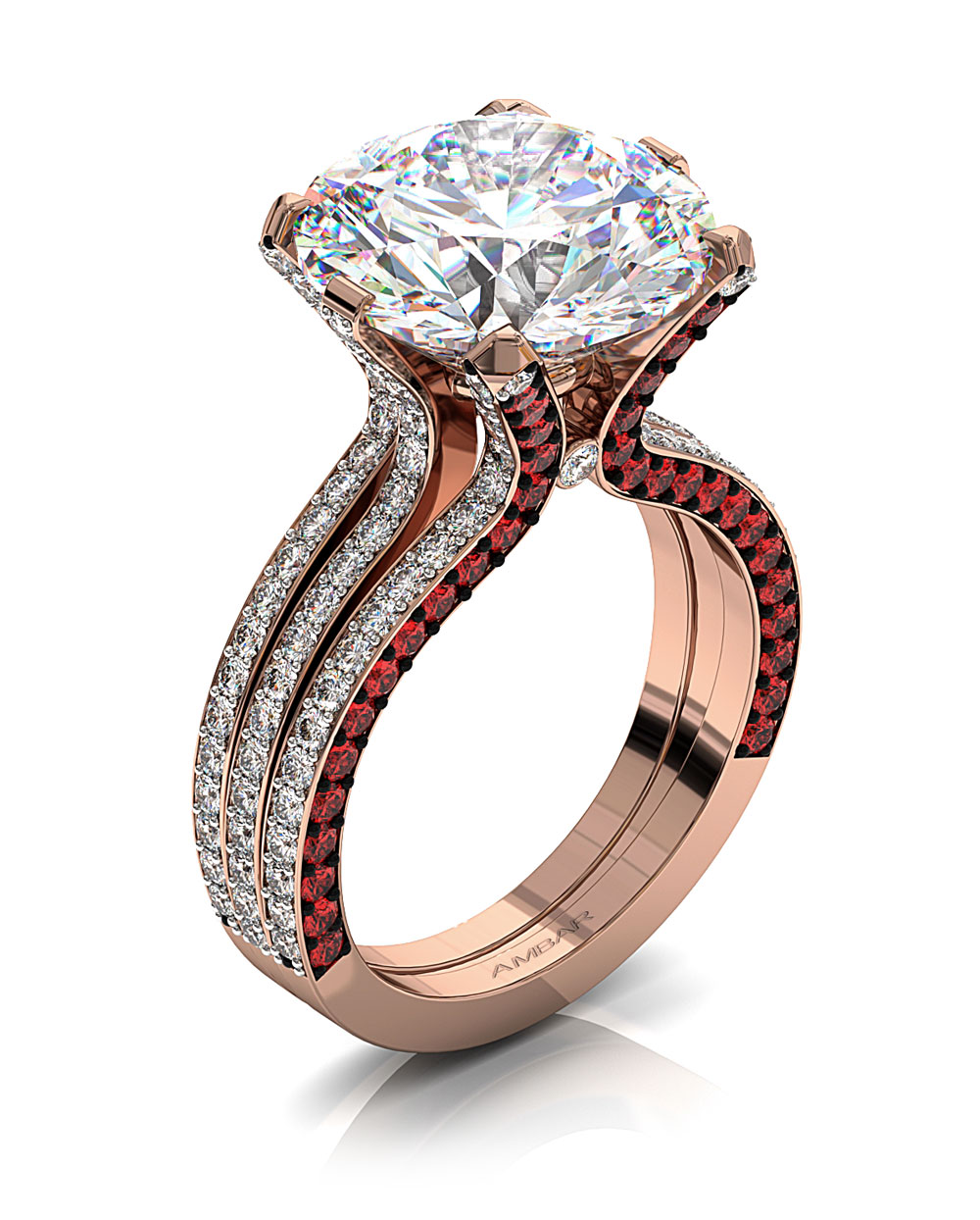 5 carat diamond ruby engagement ring