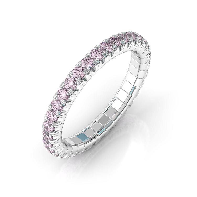 pink sapphire and gold stretch ring