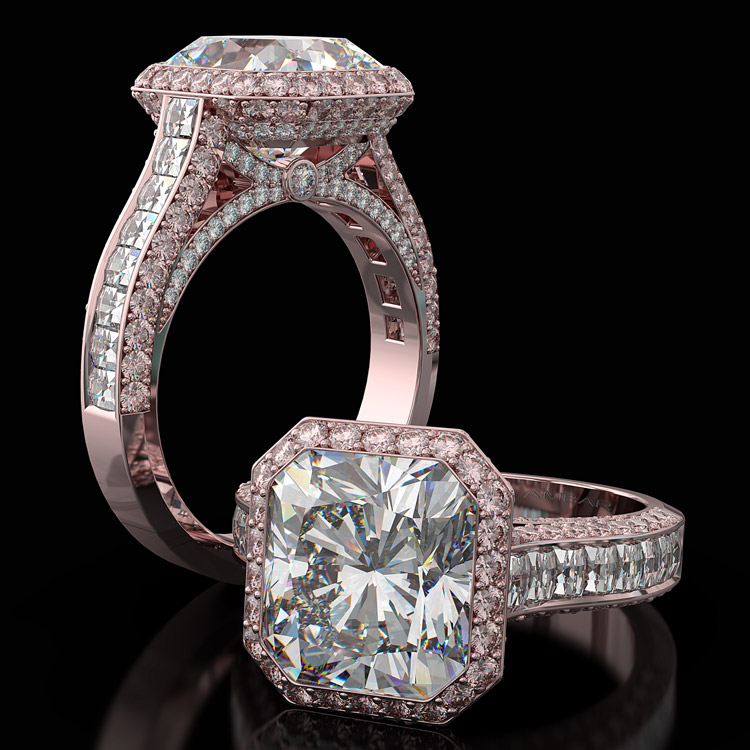 custom engagement rings pink diamonds