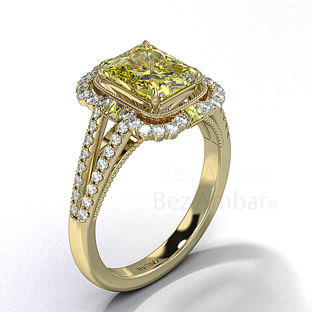 "Fancy Yellow Diamond ""Baroque"" Yellow Gold Engagement Ring"