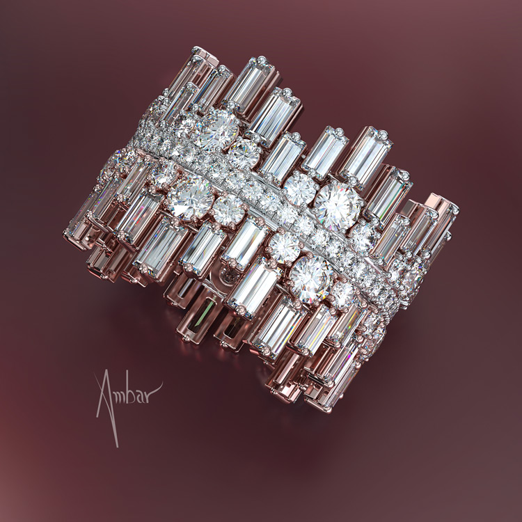 round baguette diamond band