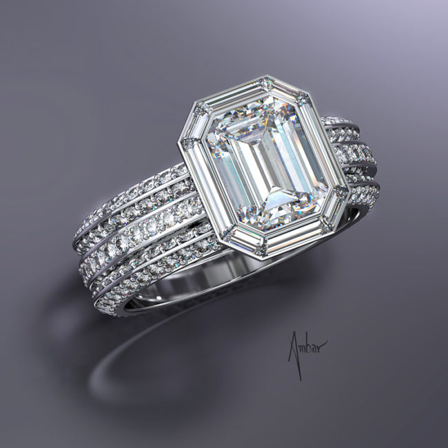 Emerald Cut Diamond Ring with Baguettes
